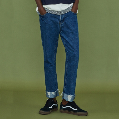 [XTONZ] XP11 Mid blue cut Jean - Blue