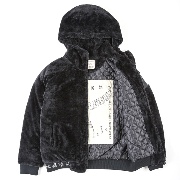 [XTONZ] XJ4 TURTLE NECK HOOD FUR JACKET - (BLACK)