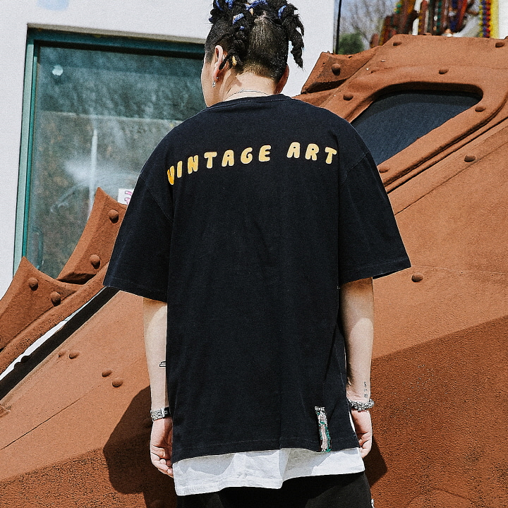 [XTONZ] XT13 VINTEGE ART T-SHIRT (BLACK)