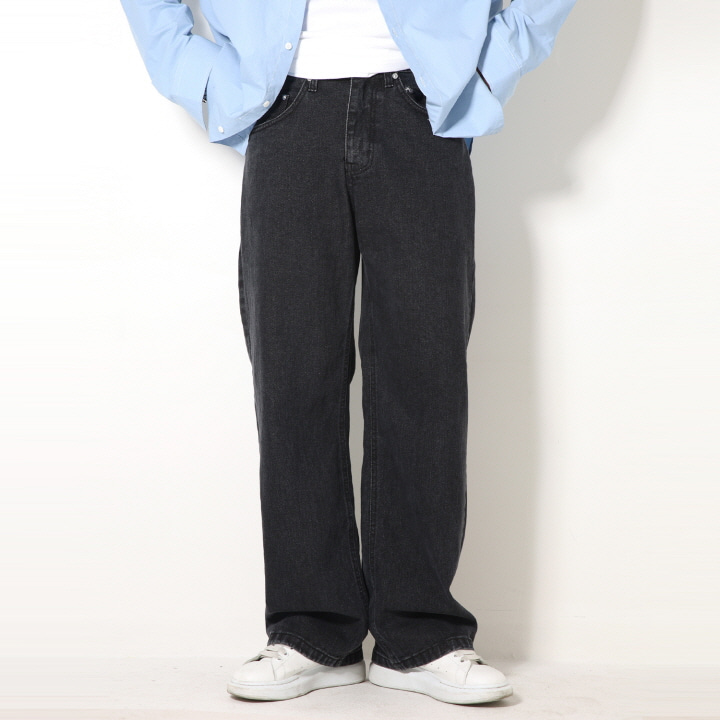 XP51 BIG WIDE DENIM PANTS (BLACK)