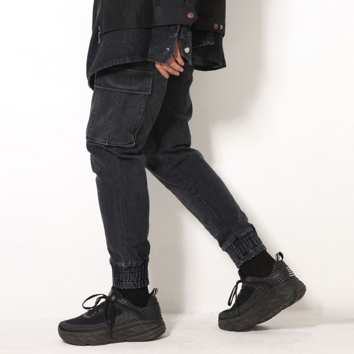 XP52 CARGO JOGGER DENIM PANTS (BLACK)